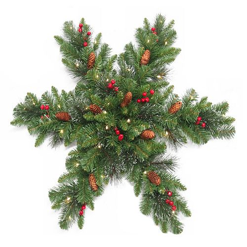 National Tree Company 32 in. Artificial Crestwood Spruce Snowflake Wall Decor