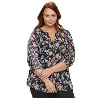 Plus Size AB Studio Printed Chiffon Top