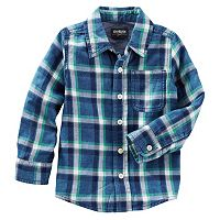 Toddler Boys OshKosh B'gosh® Flannel Plaid Button-Front Shirt