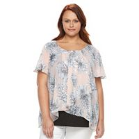 Plus Size AB Studio Floral Faux-Wrap Gauze Top