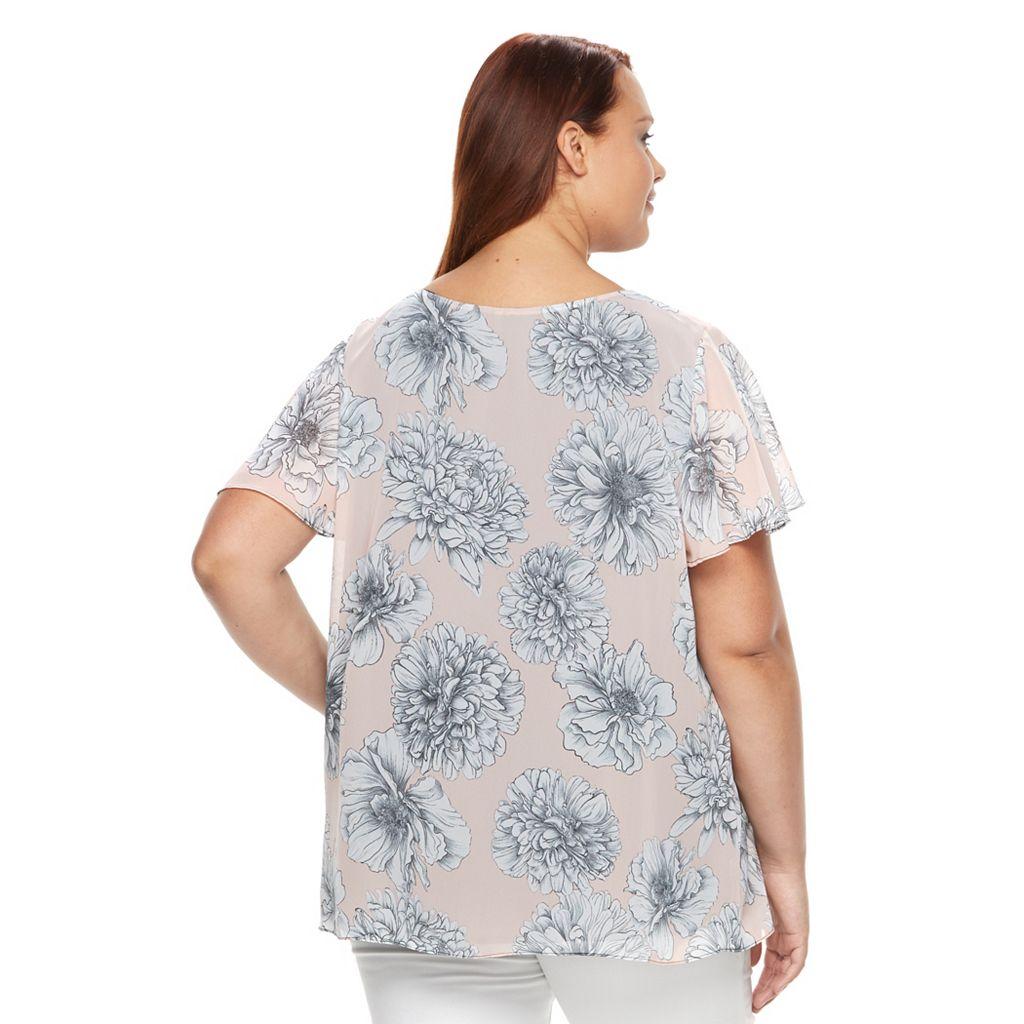 Plus Size AB Studio Floral Faux-Wrap Gauze Top