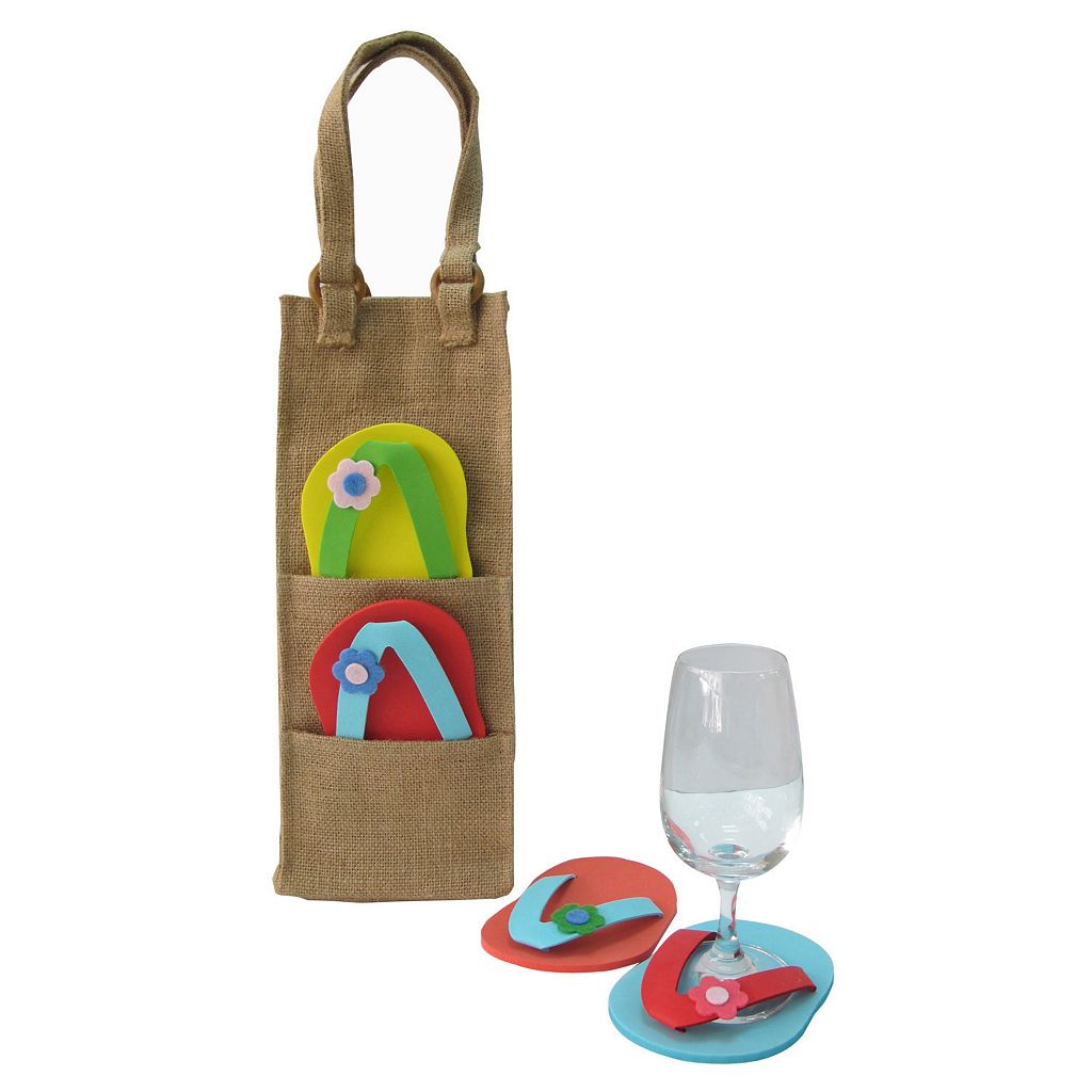 Celebrate Summer Together Burlap Wine Bag
