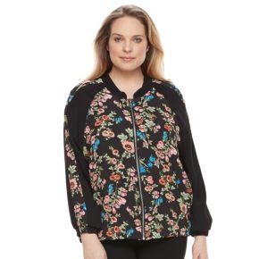 Plus Size AB Studio Floral Bomber Jacket
