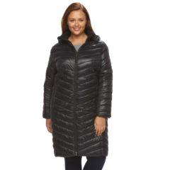 Plus Size Tek Gear® Hooded Long Puffer Jacket