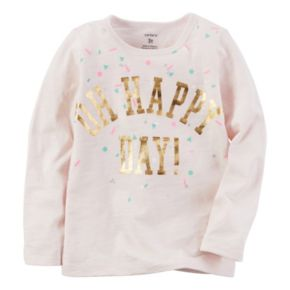 """Girls 4-8 Carter's Long Sleeve """"Oh Happy Day"""" Foil Graphic Tee"""