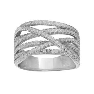 PRIMROSE Sterling Silver Cubic Zirconia Twist Ring