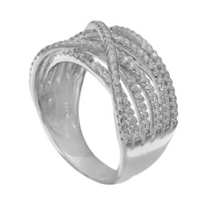 PRIMROSE Sterling Silver Cubic Zirconia Twist Ring