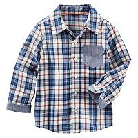 Toddler Boy OshKosh B'gosh® Chambray Accent Plaid Button-Down Shirt