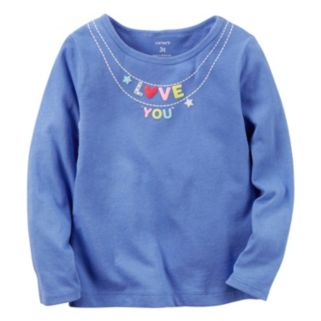 """Girls 4-8 Carter's Long Sleeve """"Love You"""" Charm Necklace Graphic Tee"""
