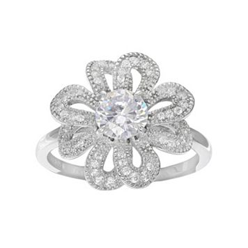 Sterling Silver Cubic Zirconia Openwork Flower Ring