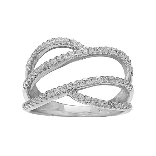 PRIMROSE Sterling Silver Cubic Zirconia Pave Swirl Ring