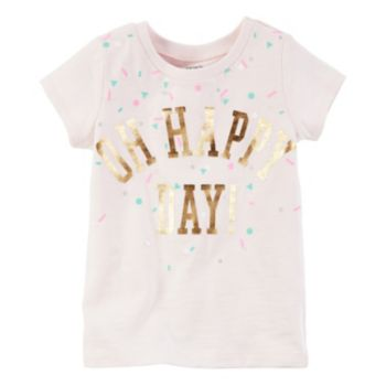 "Girls 4-8 Carter's Short Sleeve ""Oh Happy Day"" Foil Graphic Tee"