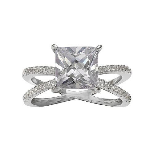 PRIMROSE Sterling Silver Cubic Zirconia X Ring