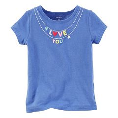 Girls 4-8 Carter's Short Sleeve 'Love You' Charm Necklace Graphic Tee
