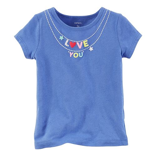 """Girls 4-8 Carter's Short Sleeve """"Love You"""" Charm Necklace Graphic Tee"""