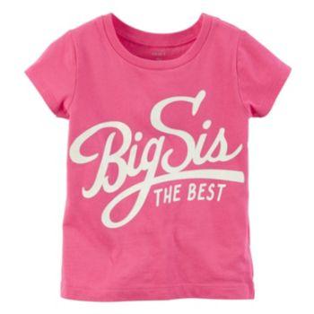 "Girls 4-8 Carter's Short Sleeve Pink ""Big Sis"" Graphic Tee"