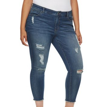 Plus Size Jennifer Lopez Destructed Skinny Ankle Jeans
