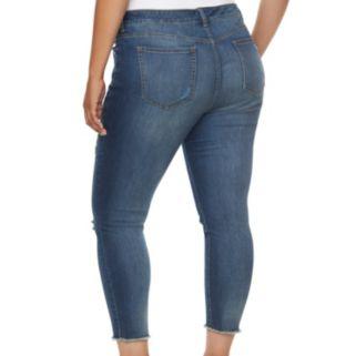 Plus Size Jennifer Lopez Destructed Skinny Ankle Jeans