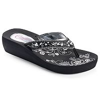 Candie's® Women's Floral Simulated Pearl Wedge Flip-Flops