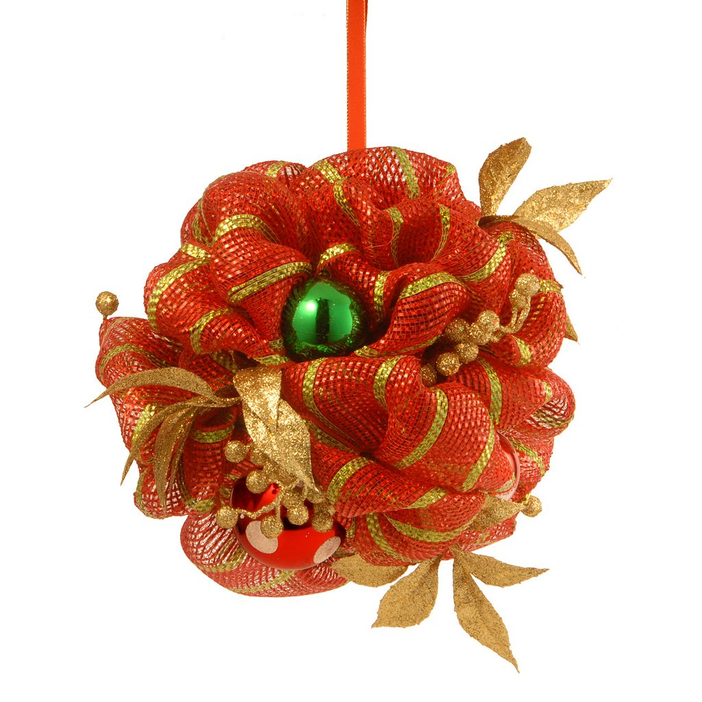 National Tree Company 12 in. Striped Red Ribbon Artificial Kissing Ball