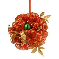 National Tree Company 12 in Striped Red Ribbon Artificial Kissing Ball