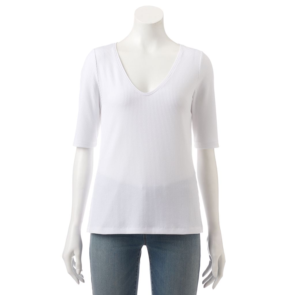 Women's Apt. 9® Essential Ribbed V-Neck Tee