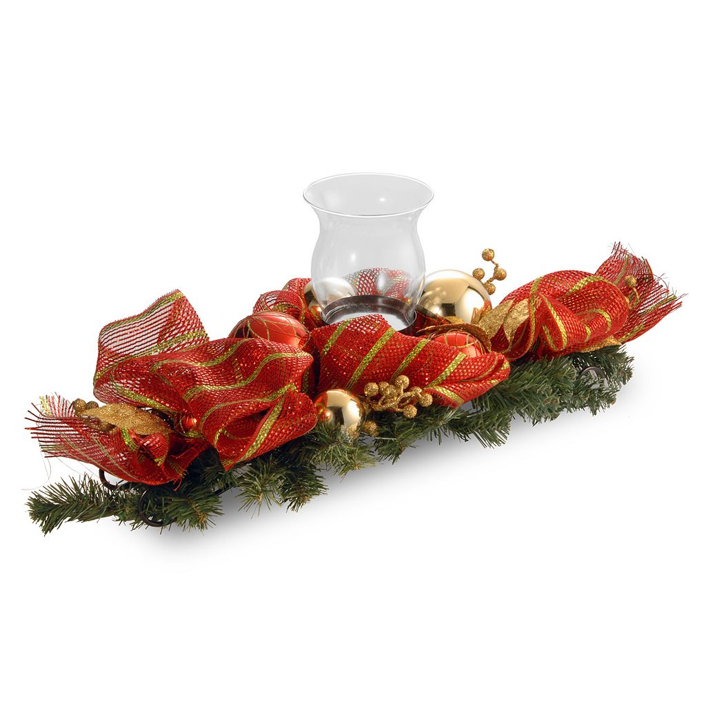 National Tree Company 30 in. Artificial Striped Red Ribbon Single Candle Holder