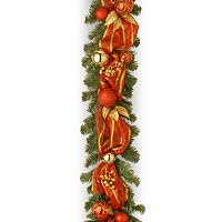National Tree Company 6 ft. Artificial Striped Red Ribbon Garland