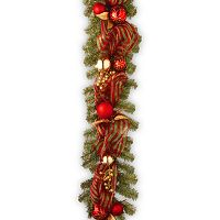 National Tree Company 6 ft. Artificial Red Green Ribbon Garland
