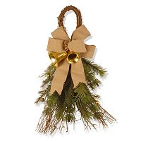 National Tree Company Burlap Bow Artificial Pine Wall Decor