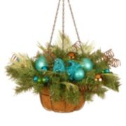 National Tree Company Artificial Peacock Feather & Pine Hanging Basket