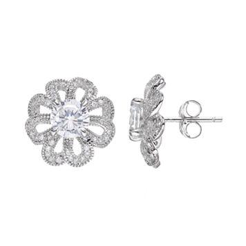 Sterling Silver Cubic Zirconia Openwork Flower Stud Earrings