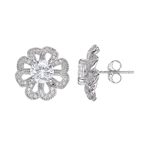 Sterling Silver Cubic Zirconia Openwork Flower Stud Earrings