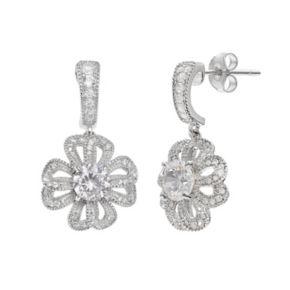 Sterling Silver Cubic Zirconia Openwork Flower Drop Earrings