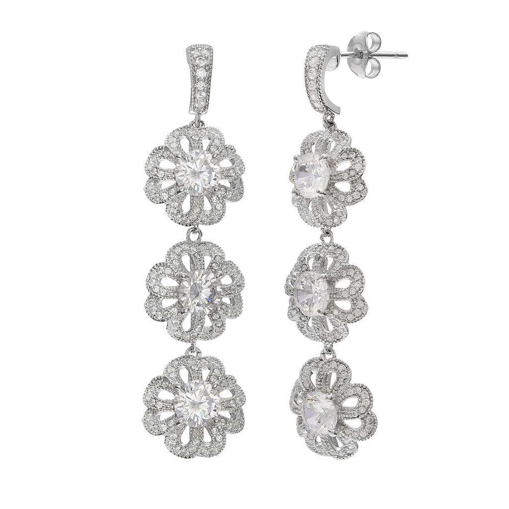Sterling Silver Cubic Zirconia Openwork Triple Flower Linear Drop Earrings