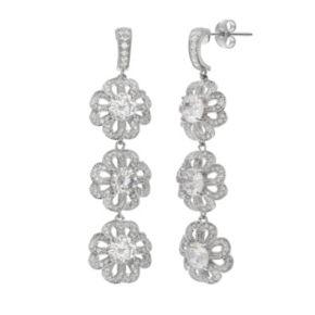 Sterling Silver Cubic Zirconia Openwork Triple Flower Linear Drop Earrings