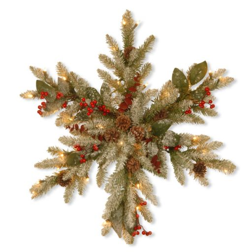 National Tree Company Pre-Lit Artificial Pine & Eucalyptus Snowflake Wall Decor