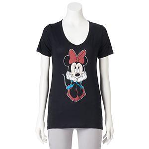 Disney's Juniors' Minnie Mouse V-Neck Graphic Tee
