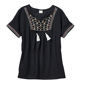Girls 7-16 & Plus Size Mudd® Embroidered Gauze Peasant Top