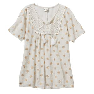 Girls 7-16 & Plus Size Mudd® Foil Print Gauze Peasant Top