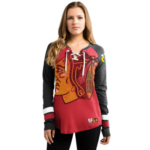 Women's Majestic Chicago Blackhawks Hip Check Top