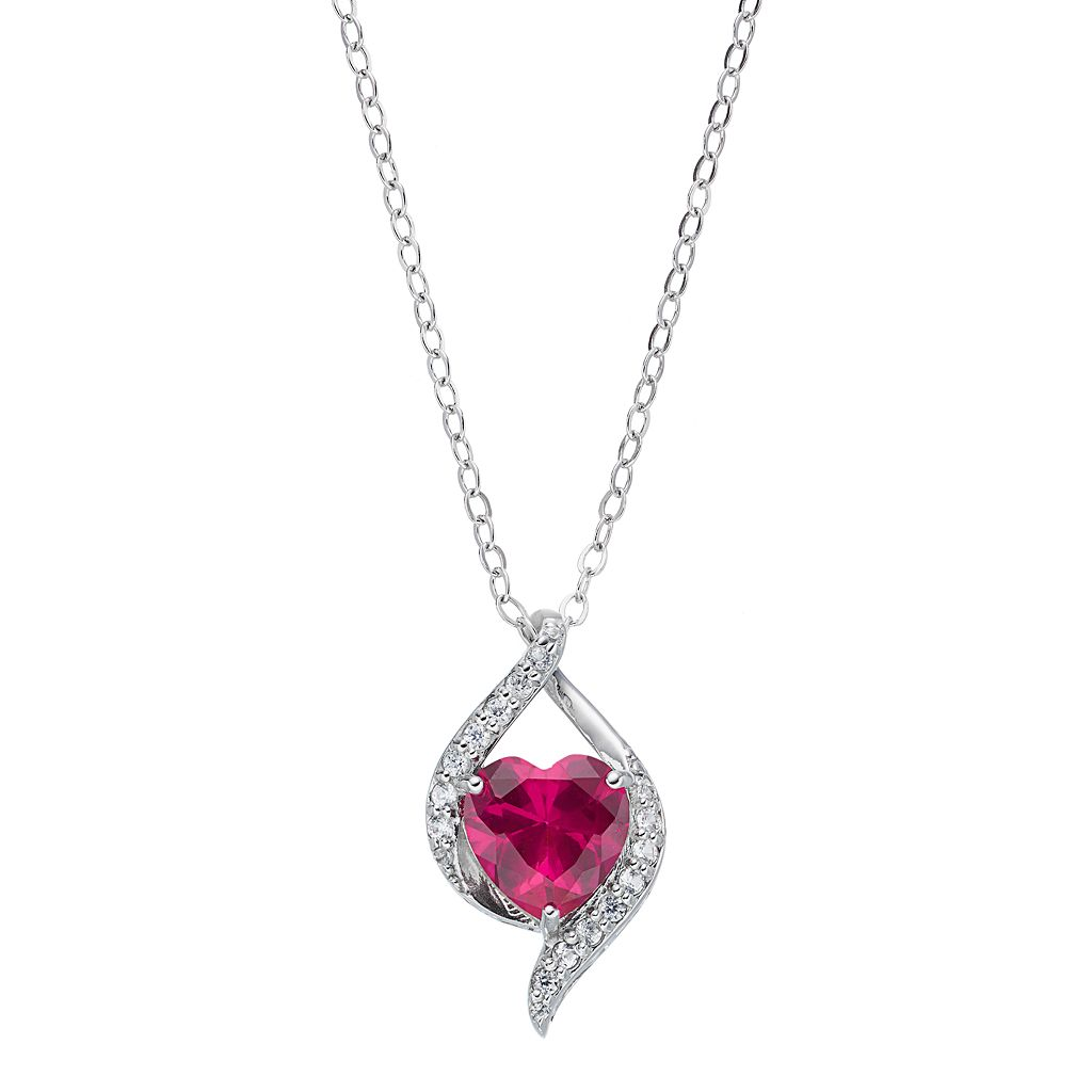 Sterling Silver Lab-Created Ruby & White Sapphire Heart Pendant & Bear Gift Set