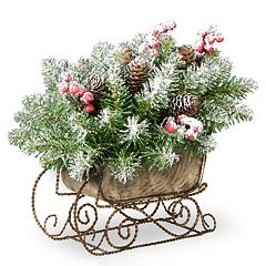 National Tree Company Artificial Dunhill Fir Sleigh Table Decor