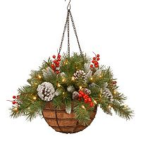 National Tree Company Pre-Lit Artificial Pine & Berry Hanging Basket
