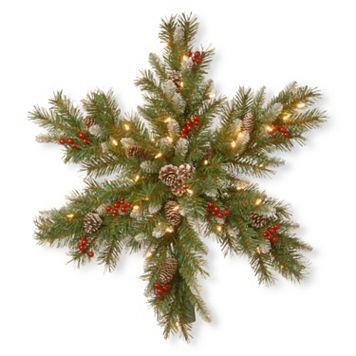 National Tree Company Pre-Lit Artificial Pine & Berry Snowflake Wall Decor