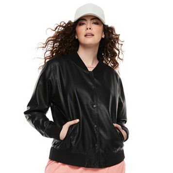 madden NYC Juniors' Plus Size Faux-Leather Bomber Jacket