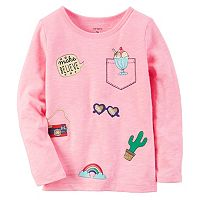 Girls 4-8 Carter's Long Sleeve Sparkly Patch Graphic Tee