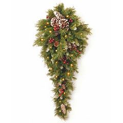 National Tree Company Pre-Lit Artificial Pine & Berry Hanging Wall Decor