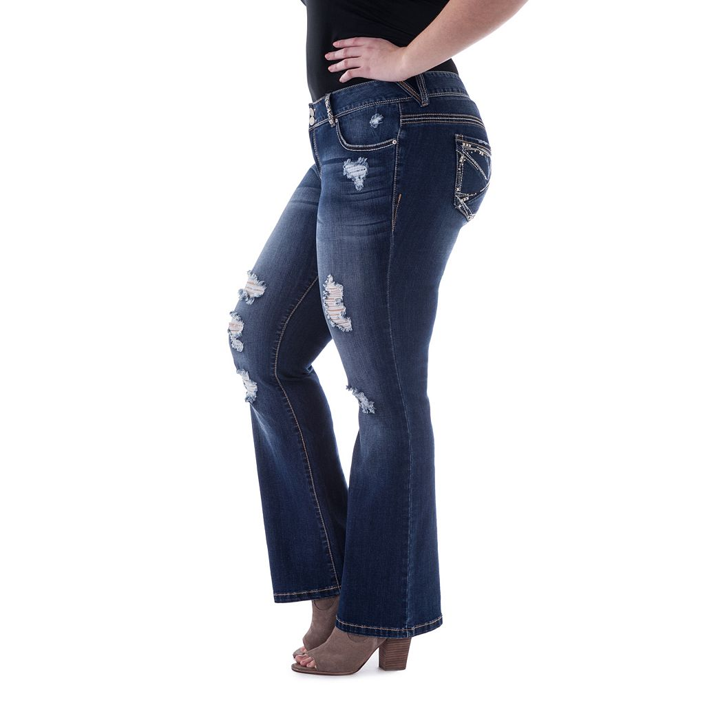 Juniors' Plus Size Amethyst Ripped Slim Bootcut Jeans