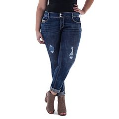 Juniors' Plus Size Amethyst Cuffed Girlfriend Jeans